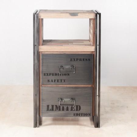 meuble de rangement en bois recyclés avec 2 tiroirs métal - face