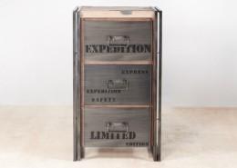 meuble de rangement en bois recyclés 3 tiroirs métal - détails