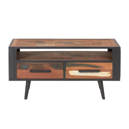 meuble tv en bois recycl s avec 1 niche et 2 tiroirs industryal. Black Bedroom Furniture Sets. Home Design Ideas