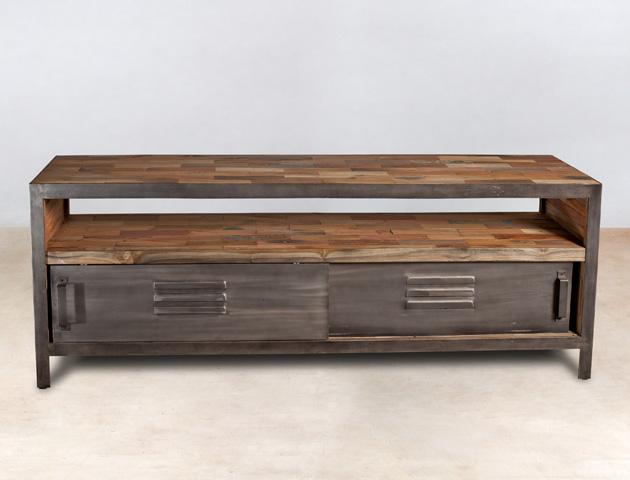 meuble TV 160cm en bois recyclés 1 niche 2 portes coulissantes - détails