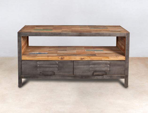 meuble TV 1 niche en bois recyclés et 2 tiroirs - détails