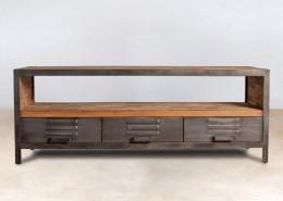 meuble TV 1 niche en bois recyclés 3 tiroirs métal - détails