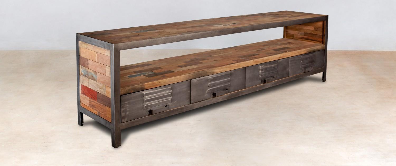 meuble TV 1 niche en bois recyclés 4 tiroirs métal