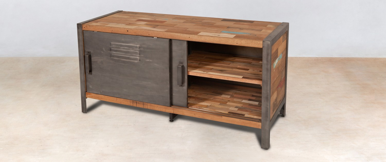 meuble tv 120cm en bois recycl s 2 portes m tal coulissantes. Black Bedroom Furniture Sets. Home Design Ideas