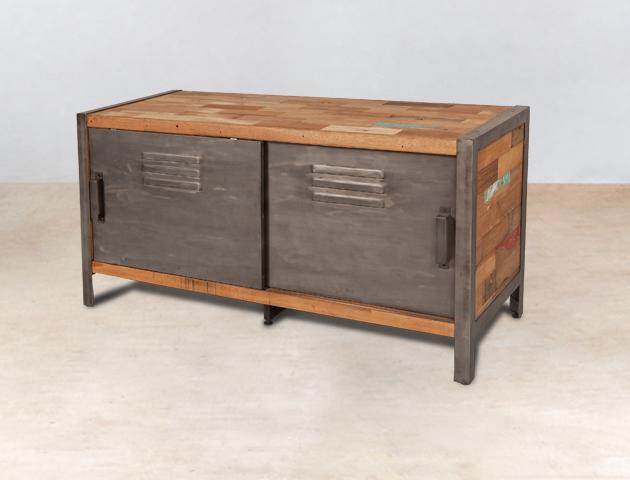 meuble tv 120cm en bois recycl s 2 portes m tal coulissantes. Black Bedroom Furniture Sets. Home Design Ideas