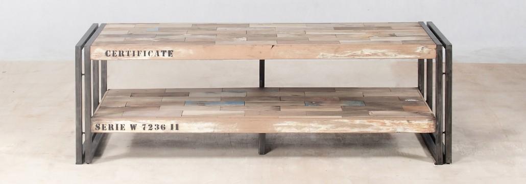 Meuble TV 120cm 2 plateaux en bois recyclés INDUSTRYAL