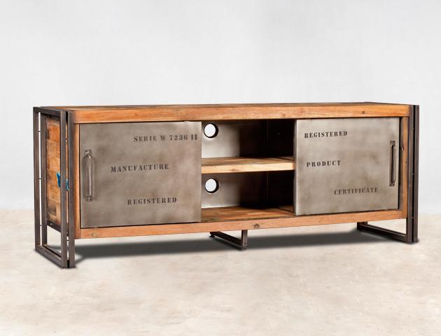 Meuble tv 160cm en bois recycl s 2 portes m tal coulissantes for Meuble al larin