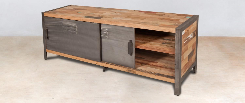 Meuble tv en bois recycl s avec 2 portes m tal coulissantes for Meuble tv en bois recycle