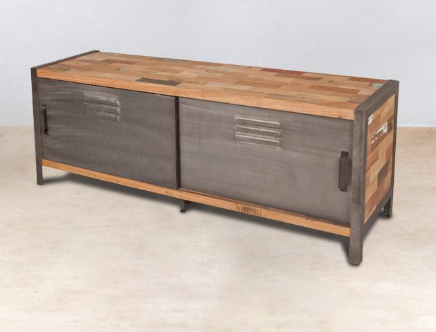 meuble tv en bois recycl s avec 2 portes m tal coulissantes. Black Bedroom Furniture Sets. Home Design Ideas