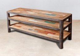 meuble TV 3 plateaux en bois recyclés collection OCEAN - détails