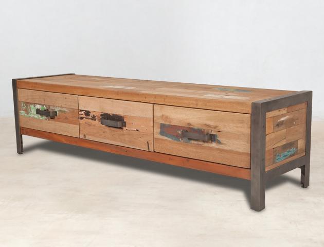 Meuble tv en bois recycl de bateaux 3 tiroirs industryal for Meuble tv en bois recycle