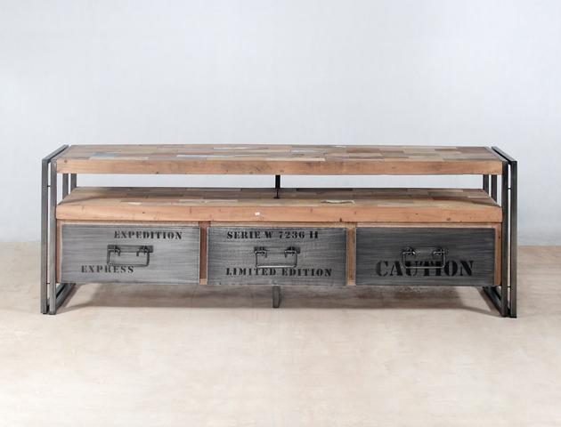 Meuble tv en bois recycl s avec 3 tiroirs m tal industryal - Les 3 suisses meubles ...