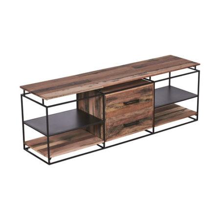 Meuble tv en bois recycl s avec 4 tag res et 2 tiroirs - Meuble tv etagere bois ...