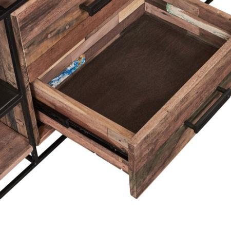 meuble tv en bois recycl s avec 4 tag res et 2 tiroirs. Black Bedroom Furniture Sets. Home Design Ideas