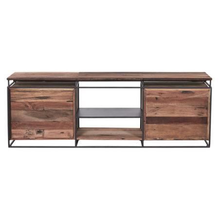 Meuble tv en bois recycl s avec 2 tag res et 4 tiroirs - Meuble tv etagere bois ...