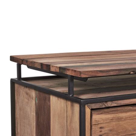 meuble tv en bois recycl s avec 2 tag res et 4 tiroirs. Black Bedroom Furniture Sets. Home Design Ideas