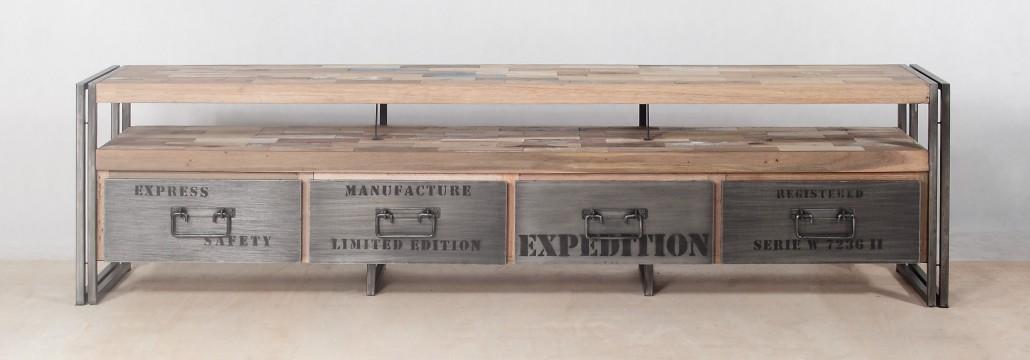 Meuble tv en bois recycl s avec 4 tiroirs m tal industryal for Meuble en bois recycle