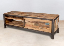 meuble TV en bois recyclés avec 2 étagères et 1 porte coulissante - détails