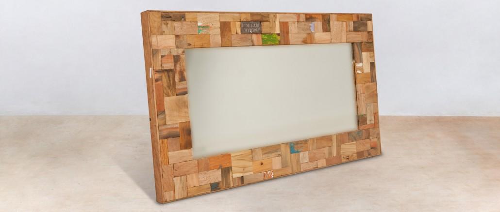 Miroir 120cm encadrement en bois recycl s industryal for Miroir bois salon