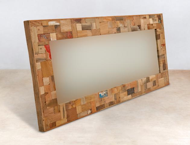 miroir 160cm encadrement en bois recycl s industryal. Black Bedroom Furniture Sets. Home Design Ideas
