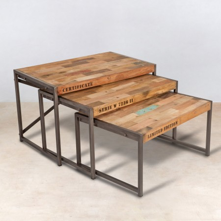 set 3 tables basses gigognes en bois recycl s industryal. Black Bedroom Furniture Sets. Home Design Ideas