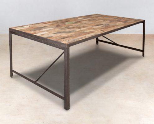 table à diner en bois recyclés 200cm INDUS - détails