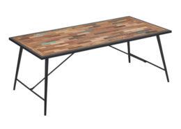 Chaise en acacia et métal pour bureau table à manger industryal
