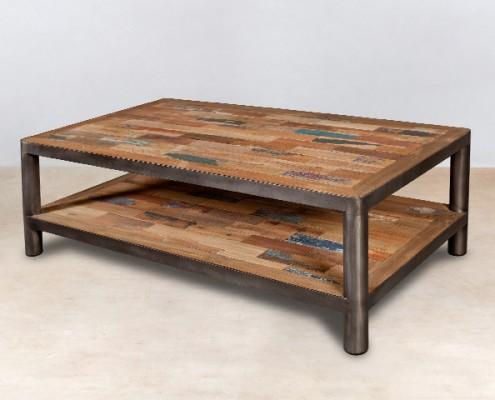 table basse 2 plateaux en bois recyclés 120cm - détails