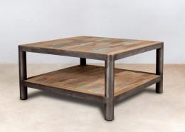 table basse carrée 2 plateaux en bois recyclés 80cm - détails