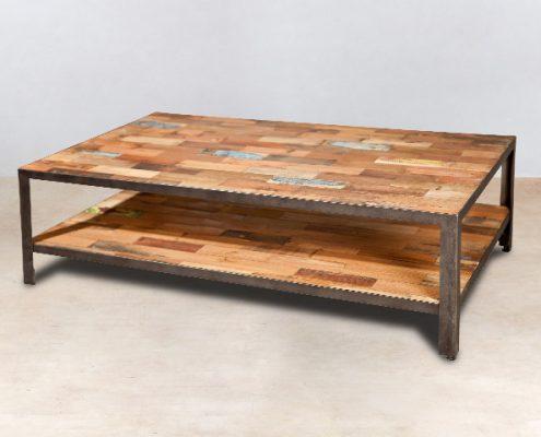 table basse 2 plateaux en bois recyclés INDUS 120cm - détails