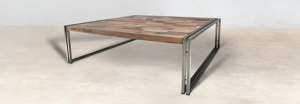 table basse carr e 120cm en bois recycl s industryal. Black Bedroom Furniture Sets. Home Design Ideas