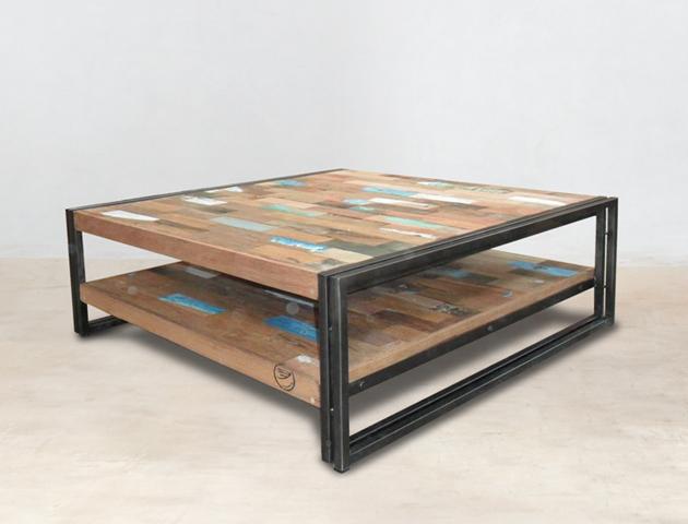 table basse carrée double-plateau - 100cm en bois recyclés de bateaux - détails