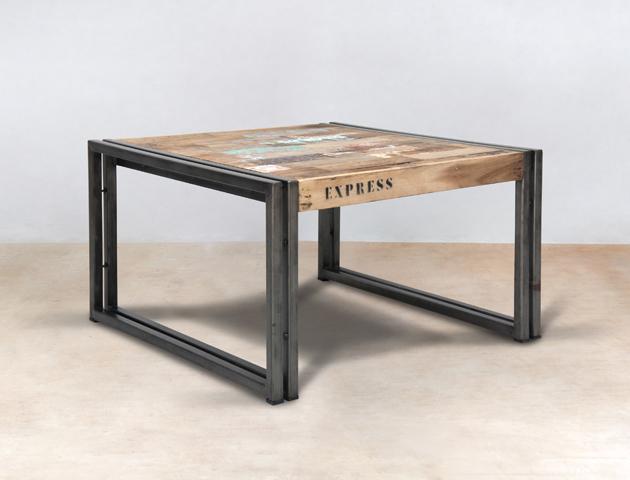 table basse carrée 60cm en bois recyclés de bateaux – détails