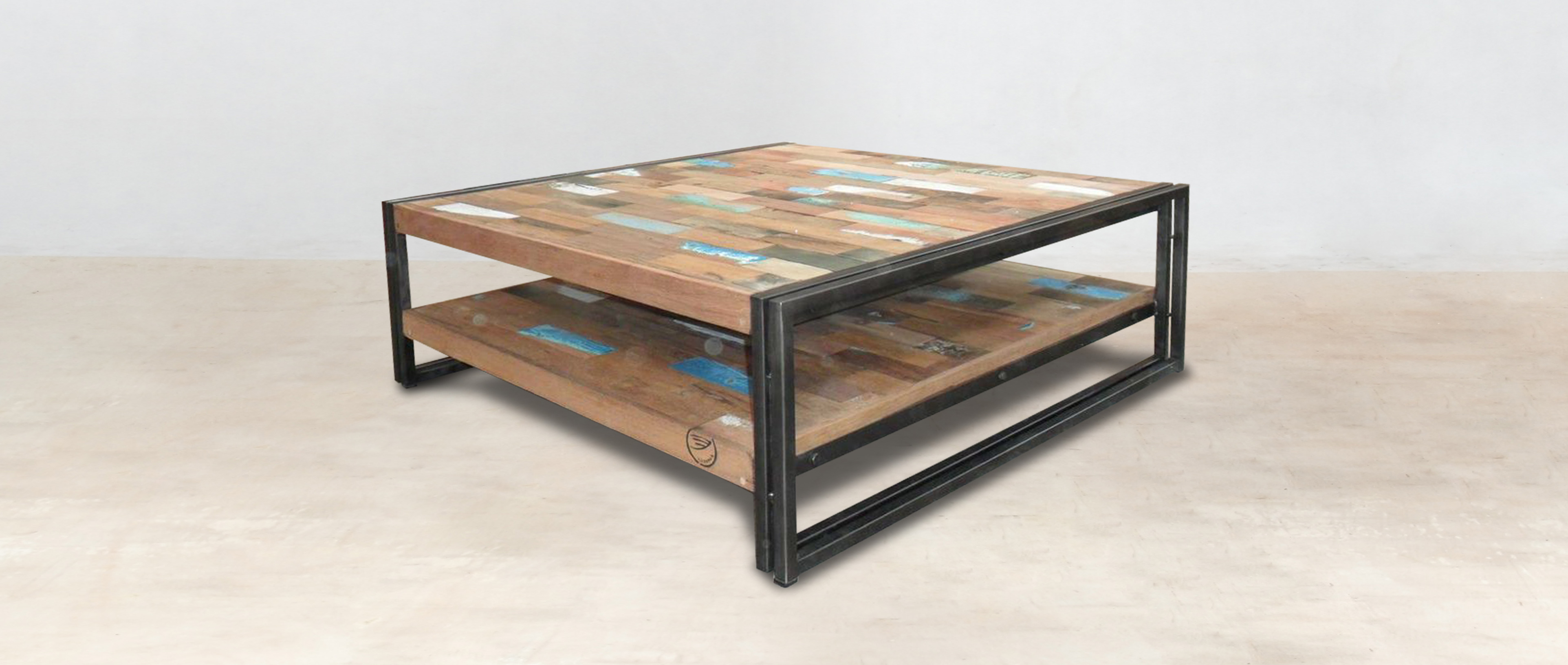 table basse carr e 100cm en bois recycl s double plateau. Black Bedroom Furniture Sets. Home Design Ideas