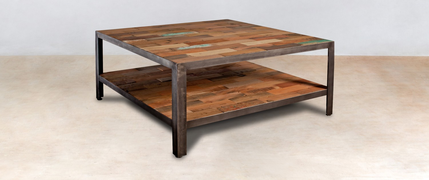 Table basse carr e 2 plateaux en bois recycl s industryal for Table de salon carre