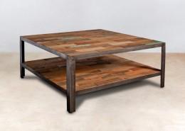 table basse carrée double plateau en bois recyclés 80cm - détails