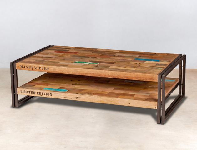 table basse 2 plateaux en bois recyclés de bateaux - 120x70cm - détails