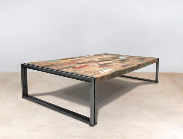 table basse rectangulaire en bois recyclés de bateaux 140cm - détails